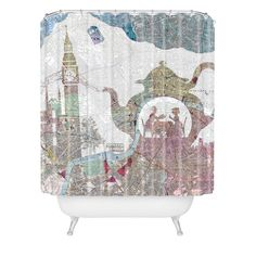 Belle13 4 O Clock Tea London Map Shower Curtain | DENY Designs Home Accessories