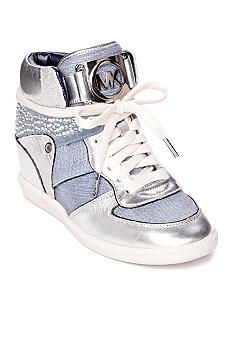 """MICHAEL Michael Kors Nikko High Top Sneaker in Denim - cute, but have a 3"""" hidden wedge, which I don't like - on Clearance for $115.50 from $275, 4/14/14!"""
