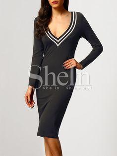 Shop Black Long Sleeve V Neck Dress