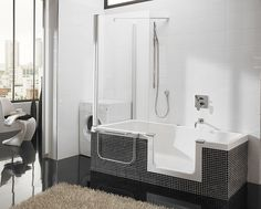 Modern Small Bathtubs With Shower Washing Machine Fur Rug