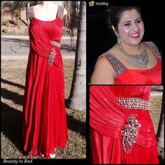 "Host pick Beautiful Gown in Red Very unique style made to order in beautiful red Italian satin material gown . Beautiful handwork done with pearls and crystals stones . Looks ravishing ( see pics) . Just worn it once to my sisters wedding . With elastic back and side zipper . I m 5'2 and wore 4""heels , I use to wear 38DD at that time . Would be perfect for size 18 to 20 w. If u want please ask measurements .           Fast shipper free gift with every purchase Top 10% seller No Paypal /trade…"