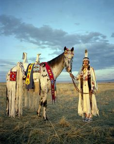 """From Striking Photos of Cultural Fashions You Have to See [X]: """"Kate Harris poses with her horse at the Happy Canyon Show in Oregon state. The show celebrates Native American heritage and Old West. Native American Horses, Native American Beauty, American Indian Art, Native American History, American Indians, American Symbols, American Traditional, American Girl, Native American Clothing"""