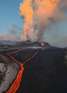 Plosky Tolbachik volcano eruption in Kamchatka, Russia