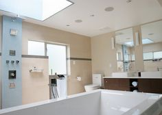 Bathroom and Bedroom: Fabulous Ottawa Ave Residence Bathroom Interior Skylight Window Luxury Bathtub, Luxury Bathrooms, Skylight Window, Open Showers, Toilet Design, Medicine Cabinet Mirror, Wet Rooms, Bathroom Interior Design, Modern Room