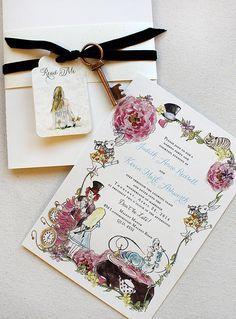 Judith R.   Antique Key Alice In Wonderland Wedding Invitations