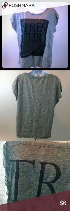 "Only Women's gray tshirt with black netting XL Only Women's Tres Chic Short Sleeve Tshirt with black mesh netting Size XL. Super cute! Length 23"", Chest 21"". Thanks for shopping my closet! Only Tops Tees - Short Sleeve"
