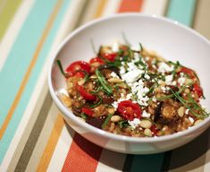 Barley Risotto with Eggplant and Tomatoes---Use kashi or toasted buckwheat groats instead of barley. Omit cheese