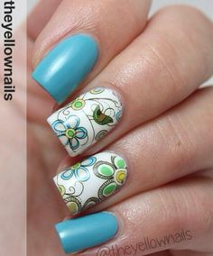 flowers, bird, stamping nail art.