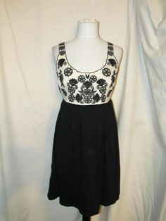 Sz S Feather Bone Anthropology Sheath Dress Black White Floral Above Knee Straps #FeatherBone #Sheath #Casual