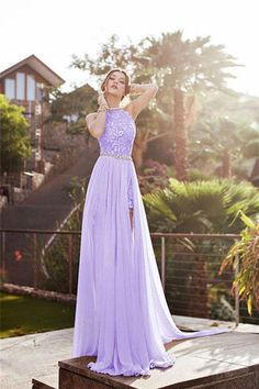 1ba46517195 Sleeveless High Neck Backless Chiffon Prom Dresses Evening Dresses PG411