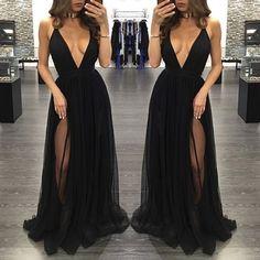 Black Deep V-neck Tulle Long Prom Dresses,Evening Dress,Formal Dress by lass, $148.00 USD