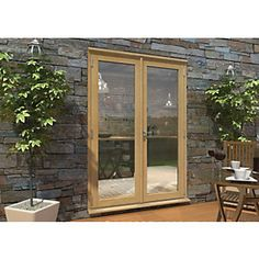 180869 - Rohden Pattern 10 Unfinished Oak French Doors - 5Ft Oak Front Door, Wooden Front Doors, Front Door Entrance, Glass Front Door, Front Porch, Wood French Doors Exterior, Exterior Doors With Glass, Exterior Stain, Double Glass Doors