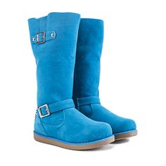 Buy Women's Blue Fur Interior Boot Urban Buckle online. Find more women's flat, winter, and fur boots at ShiekhShoes.com.