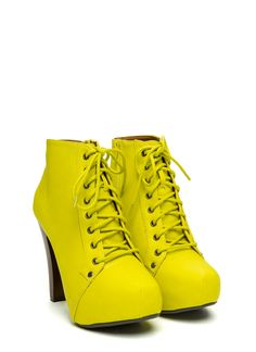 Full Coverage Chunky Lace-Up Booties YELLOW
