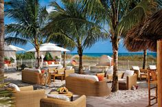 At the Ritz-Carlton Key Biscayne's St. Tropez-style Dune Oceanfront Burger Lounge, guests can relax right on the sand on plush lounges, cushioned beds or VIP cabanas. An international twist to an otherwise American concept, gourmet burger choices include Kobe beef and ahi tuna.