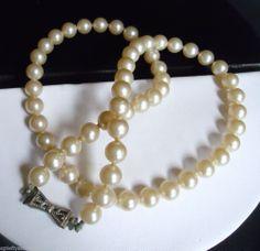 Vintage Formal or Bridal Petite Faux Pearl Choker Silver Tone Filigree Bow Clasp