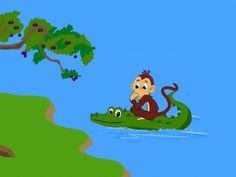 The clever monkey outwits the foolish crocodile and makes him bring him back