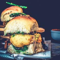 Vada Pao, Wada Pav, or Wada Pao is a budget-friendly and gratifying Indian Style Burger which hails from the streets of Mumbai. The origin of this sandwich is the Indian state of Maharashtra, but this Vada Pav Recipe, Bhaji Recipe, Veg Recipes, Cooking Recipes, Cooking Pasta, Cooking Gadgets, Cooking Utensils, Cooking Tools, Cake Recipes
