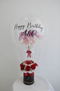 Balloon size Baby breath inside the balloon (remark color) Customize word on balloon 11 Rose and baby breath with marble black box Balloon Logo, Balloon Gift, Balloon Garland, Hot Air Balloon, Gift Bouquet, Candy Bouquet, Balloon Bouquet, Flower Box Gift, Flower Boxes