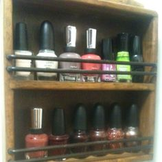 I turned a Goodwill find spice rack into a fingernail polish holder!  It's mounted inside my walk-in closet.