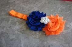 Beautiful orange and blue headband, boutique bow, infant bow, Gators, Broncos, Mets on Etsy, $7.95