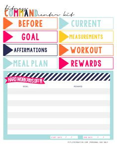 Fitness Command Center Printable to help you stay motivated on your health and fitness journey.