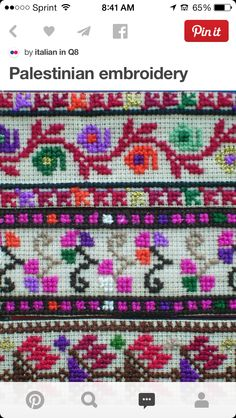 Palestinian Embroidery Ala Abu Dheer - It Was A Work of Craft Cross Stitch Boards, Cute Cross Stitch, Cross Stitch Flowers, Cross Stitching, Cross Stitch Embroidery, Cross Stitch Patterns, Embroidery Fabric, Embroidery Patterns, Palestinian Embroidery