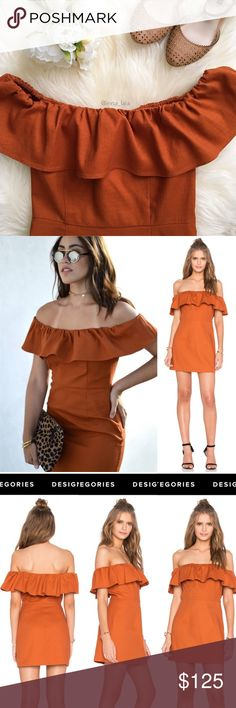 Kendall + Kylie Ruffle Off Shoulder Dress Kendall + Kylie Ruffle Off Shoulder Dress in Cinnamon Stick -A ruffle adds a feminine accent to this off-shoulder KENDALL + KYLIE dress. Hidden side zip. Unlined. -Fabric: Textured weave. 98% cotton/2% spandex. Unlined. Machine wash. -Measurements: Length: 26.5in / 67cm, from center back.  -Ruffled off-the-shoulder neckline. Hidden side zipper closure.-Model wearing S. 📸: revolve.com & shopbop.com & @inna_lala Kendall & Kylie Dresses Mini