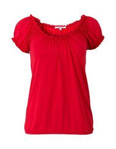 Rode basis top met korte mouwen en een ronde hals. Het is een blouson model, gemaakt van soepele stretch stof. De top is voorzien van een sierlijke rimpeling aan de hals en bij de mouwen en heeft een elastische band aan de onderkant. Heuplengte.  #zomercollectie #zomerkledingdames #zomerkleding