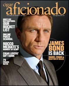 An exclusive look inside the making of Quantum of Solace, and Daniel Craig's next turn at playing superspy James Bond. James Bond Actors, James Bond Books, Women Smoking Cigars, Cigar Smoking, Magazine Cover Layout, Magazine Covers, Smoking Celebrities, Daniel Graig, Daniel Craig James Bond