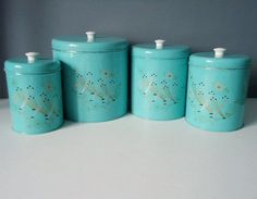 Exceptional Turquoise Kitchen Canister Set From The 1950s By SwirlingOrange11, $88.00