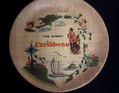 """The Sunny Caribbean"" Collector Bamboo Plate  Made in Taiwan Republic Of China"
