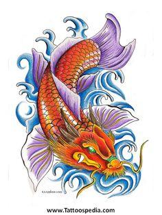 Koi Fish Dragon Head Tattoo Designs 3.jpg (488×650)