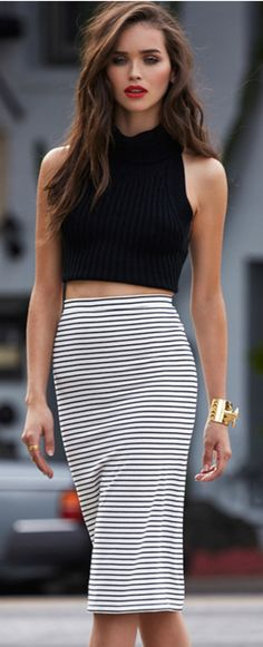 Date night outfit! Crop top, high waist skirt, cuff, red lips