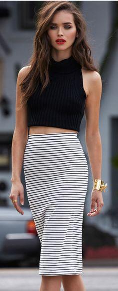 #street #fashion pencil skirt + crop top @wachabuy