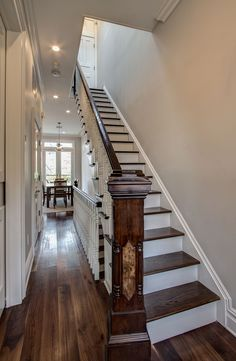 Stair hallway in a brownstone renovation. Park Slope, Brooklyn.  Ben Herzog, Architect.