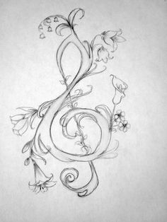 Here's how to draw a glorious treble clef. Great for tattoos! - Here's how to draw a glorious treble clef. Great for tattoos! Here's how to draw a glorious treble clef. Great for tattoos! Music Drawings, Easy Drawings, Tattoo Drawings, Pencil Drawings, Flower Drawings, Tattoos To Draw, Drawing Flowers, Music Painting, Painting & Drawing