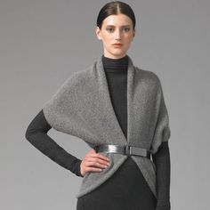 The shrug pattern is an ideal project with which to experiment with fashion design for several reasons — it is knitted or sewn in one piece, there is minimal finishing, it is easy to wear, and relatively quick to make. The Vince version is an an