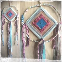 god's eye dreamcatchers.... vintage ribbons and trims