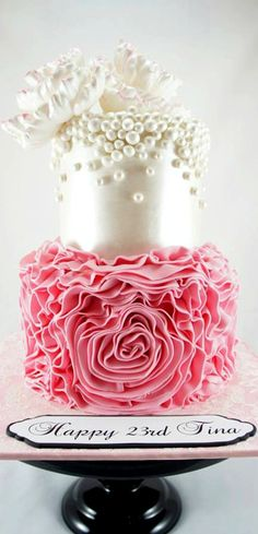 Ruffles, Pearls and Peonies Cake
