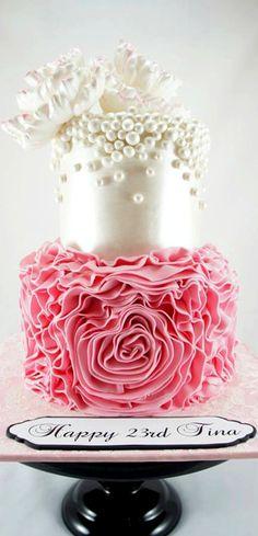 Ruffles, Pearls and Peonies Cake