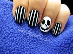 Nightmare before Christmas nails by Cute Polish #nails #nailart #halloweennails