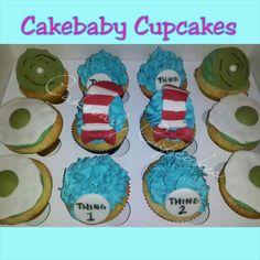 Custom Dr. Seuss themed cupcakes in Vanilla Bean! #cakebabycupcakes #cupcakes #custom #Atlanta #Delivery #DrSeuss #catinthehat #greeneggsandham