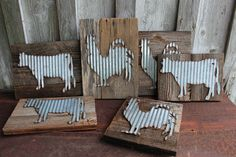 Galvanized Metal Cow Chicken on Barn Wood, farmhouse decoration,farmhouse sign,metal chicken,metal cow,reclaimed barn wood sign,wall art by RefunkedJunkies on Etsy