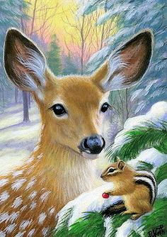 Fawn-deer-chipmunk-wildlife-winter-snow-forest-original-aceo-painting-art