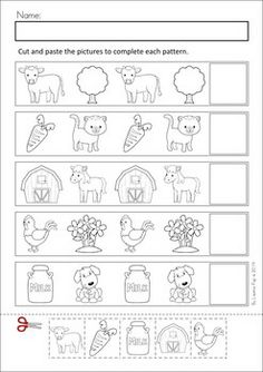 Farm Unit: MEGA Math & Literacy Worksheets & Activities - Down on the Farm. 100 Pages in total!! A page from the unit: Patterns cut and paste