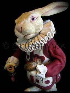 White Rabbit Alice in wonderland | Alice in Wonderland White Rabbit Sculpture by Griffinwyse on Etsy