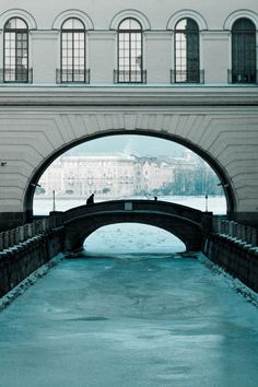 Bridge and canal to Big Neva river, St. Petersburg, Russia