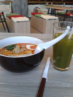 Hot Ramen and Cold Ocha Tea
