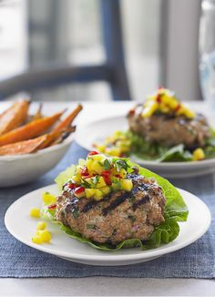 Thai burgers with salsa and sweet potato wedges: These easy pork burgers are flavoured with Thai curry paste and coriander then served up with a spicy chilli and mango salsa. Because there's no bun they are really low-fat and healthy, just serve delicious sweet potato wedges on the side.